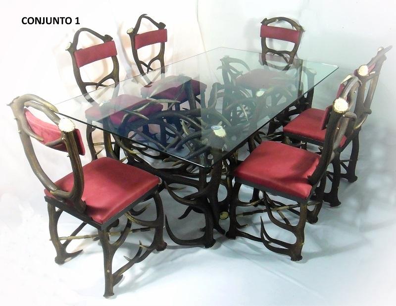 comedor de astas 6 sillas, Asta de Ciervo, gamo y corzo, International Antler Trading SL