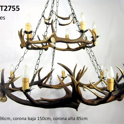 Lámpara del torero, Asta de Ciervo, gamo y corzo, International Antler Trading SL