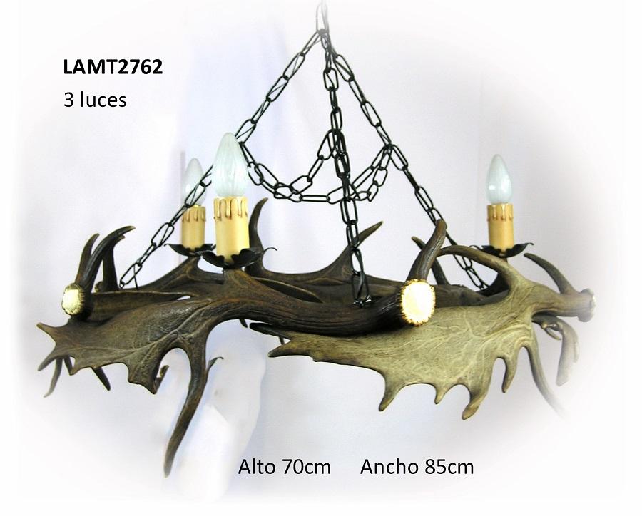 Lámpara de gamo 3 luces, Asta de Ciervo, gamo y corzo, International Antler Trading SL