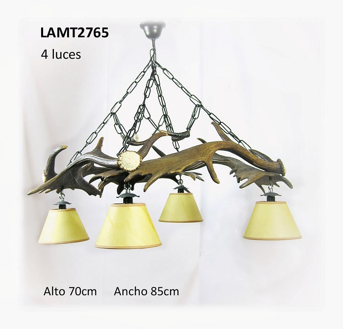 Lámpara de gamo 4 palas, Asta de Ciervo, gamo y corzo, International Antler Trading SL