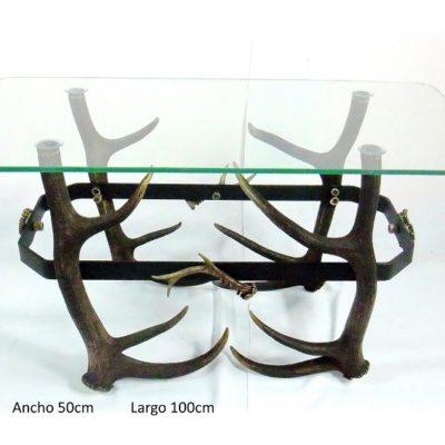 Mesa rectangular ciervo y forja, Asta de Ciervo, gamo y corzo, International Antler Trading SL