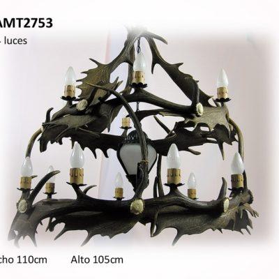 Lámpara gamo dos alturas farol, Asta de Ciervo, gamo y corzo, International Antler Trading SL