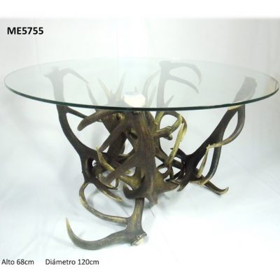 Mesa redonda comedor, Asta de Ciervo, gamo y corzo, International Antler Trading SL